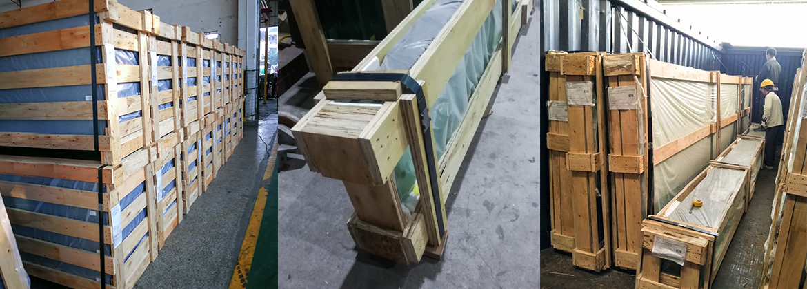 Laminated glass packed in non-fumigation wooden cases